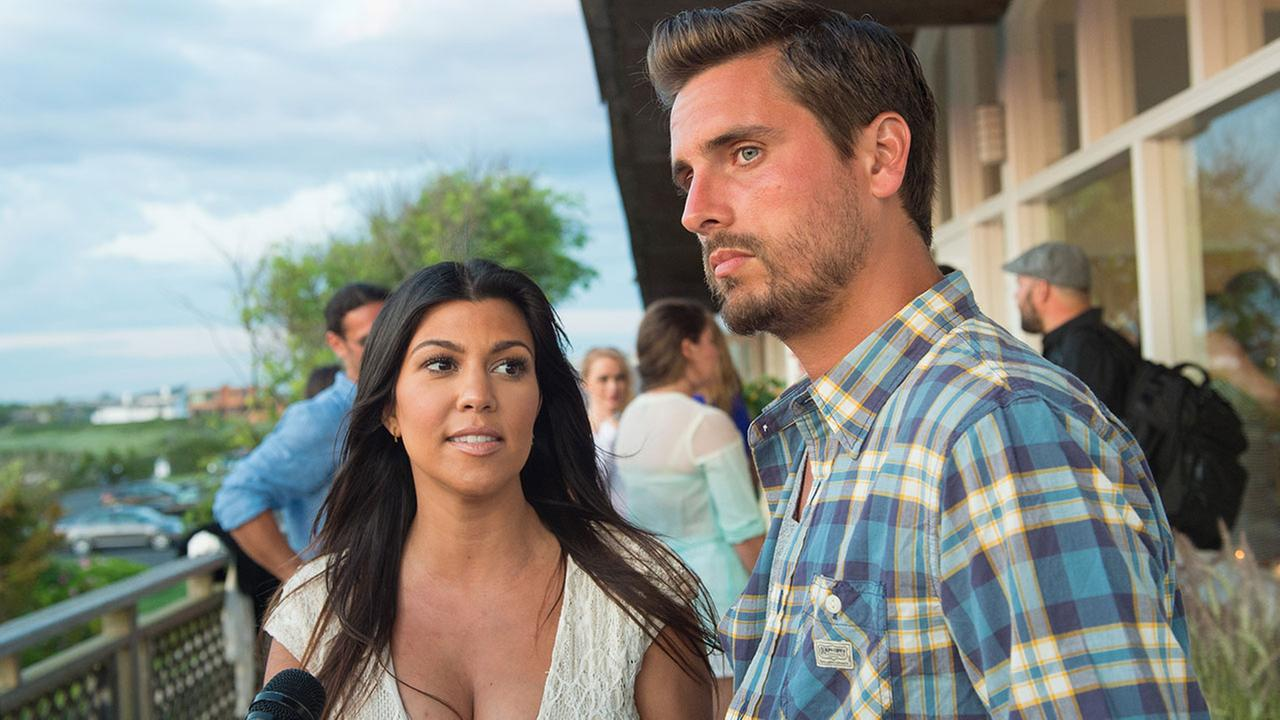 Scott Disick and Kourtney Kardashian attend a womens health benefit at the Bridgehampton Tennis and Surf Club on Saturday, Aug. 9, 2014 in New York.