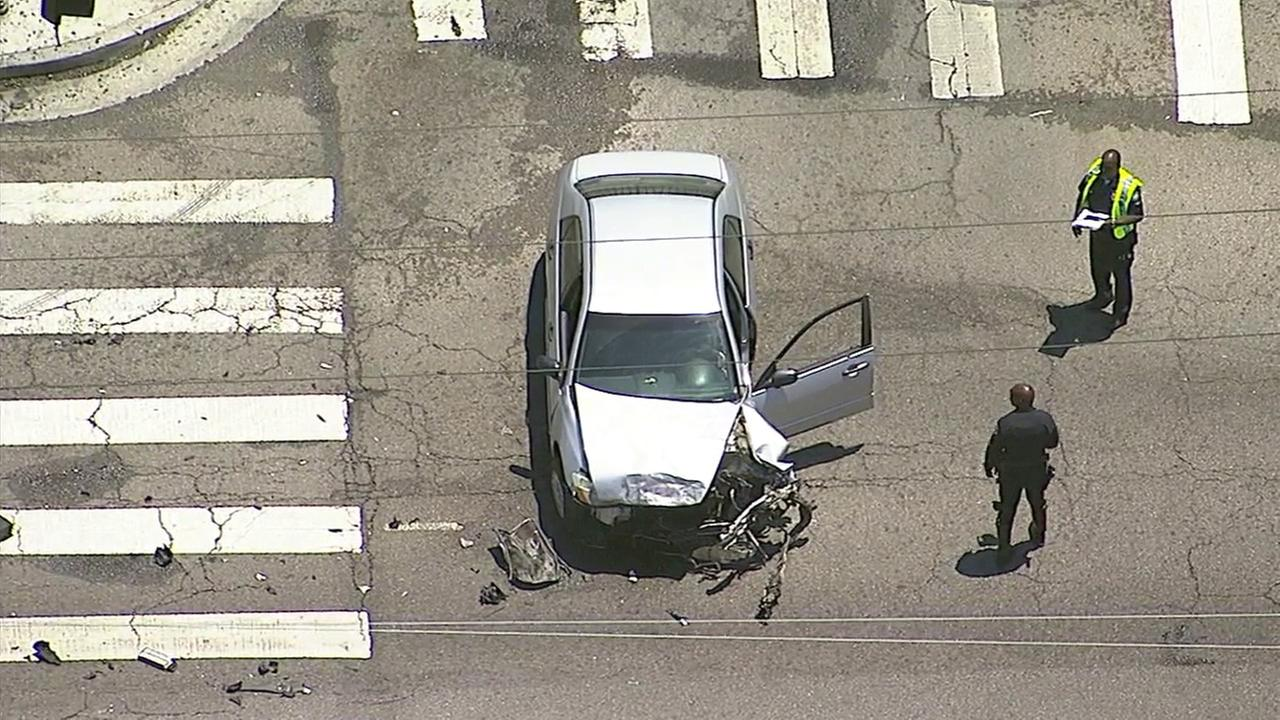 One of two cars involved in a South L.A. crash that left a pedestrian gravely injured on Monday, May 22, 2017.