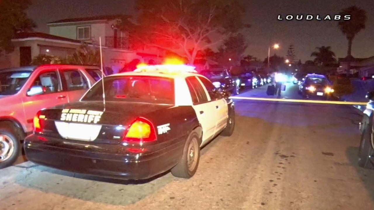 A Los Angeles Sheriffs Department cruiser parks at the scene where a drunk driver crashed into a parked car and injured a deputy on Saturday, July 19, 2014.