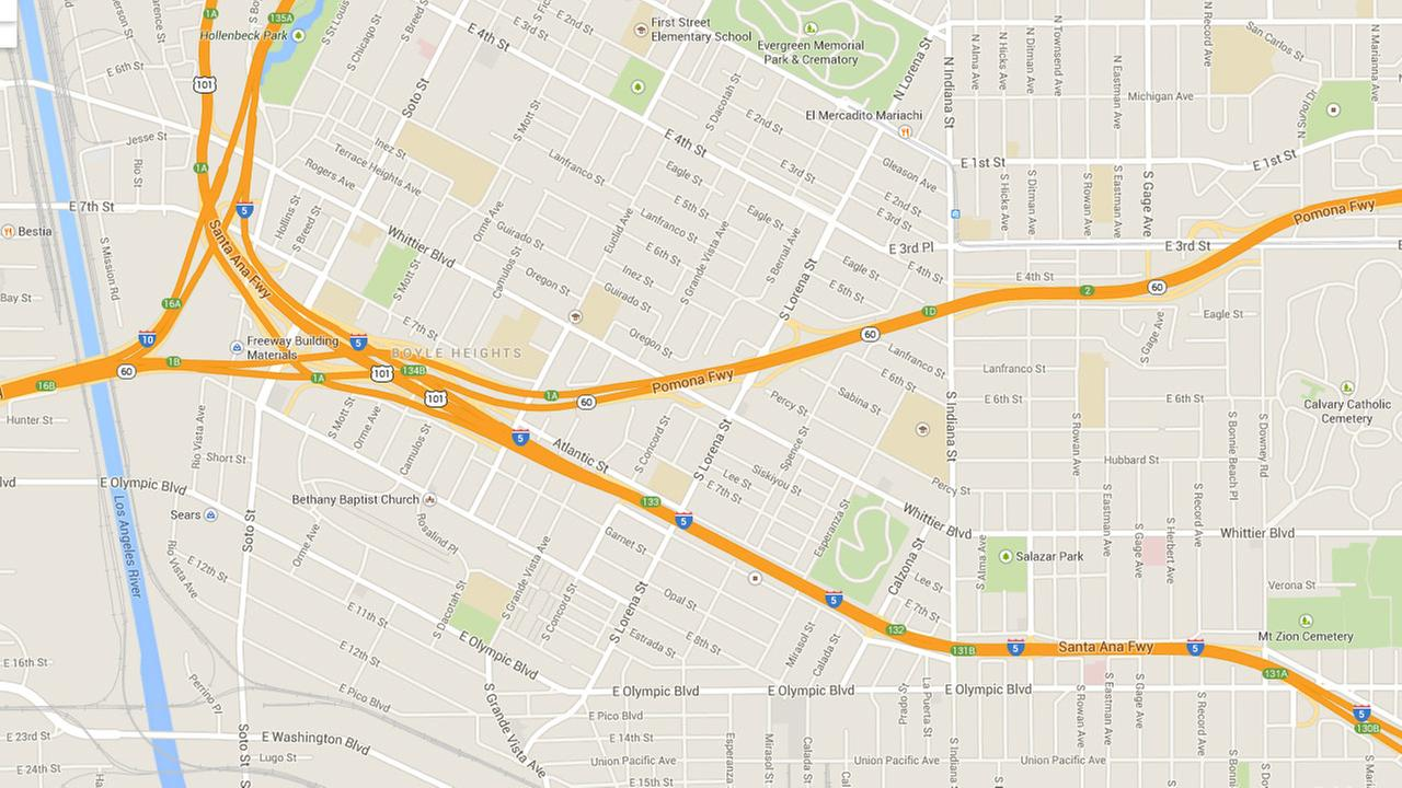 This Google Maps image shows the area where a fire broke out on the 60 Freeway at Whittier Boulevard in Los Angeles on Sunday, July 20, 2014.