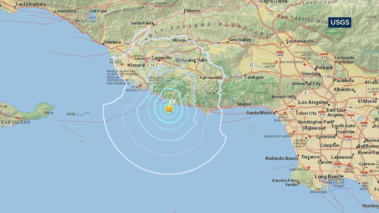 This map from the U.S. Geological Survey indicates the location of an earthquake that struck the Malibu area on Thursday, May 25, 2017.