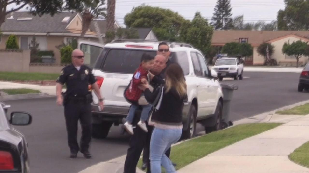 A 2-year-old boy was reunited with his mother after her vehicle was stolen with her young son inside from in front of her Anaheim apartment Thursday.
