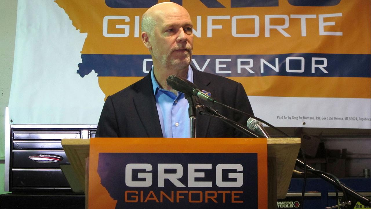 In this Jan. 21, 2016, file photo, Republican gubernatorial candidate Greg Gianforte addresses supporters in Helena, Mont.