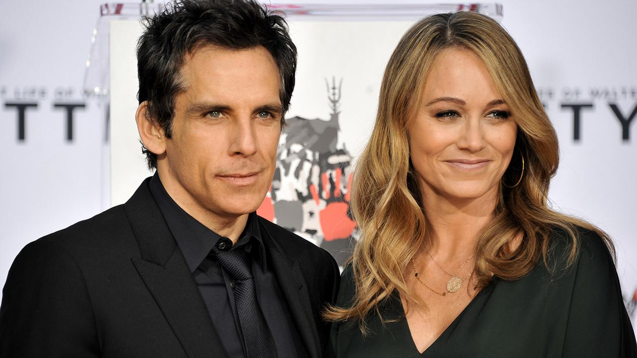 Actor Ben Stiller, left, and wife Christine Taylor during Stillers Hand and Footprint Ceremony at TCL Chinese Theatre on Tuesday, December, 3, 2013.