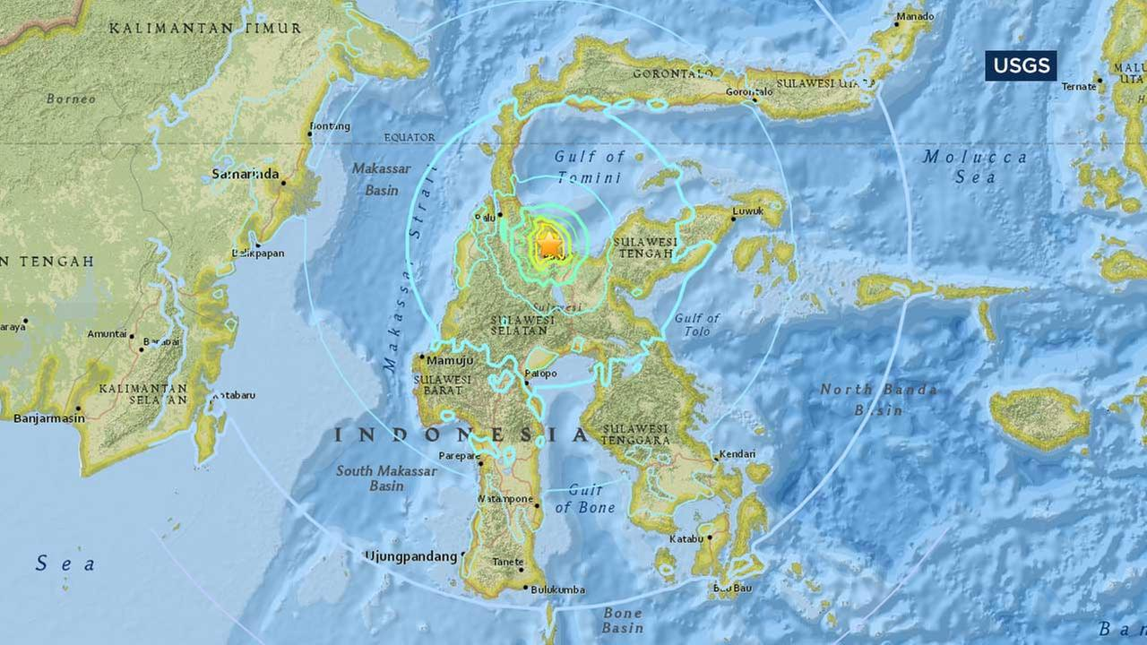 This U.S. Geological Survey map shows the location of a powerful earthquake that struck Indonesias central Sulawesi province on Monday, May 29, 2107.