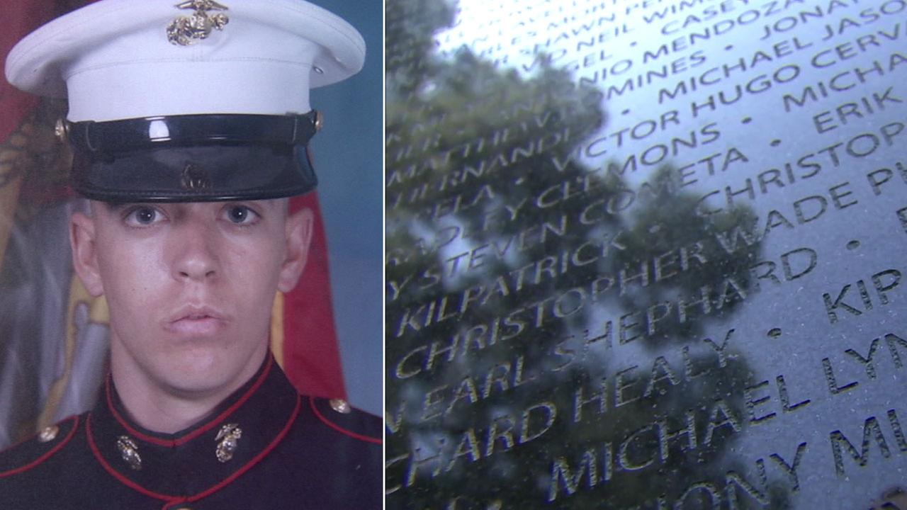 Marine Staff Sgt. Jeffrey Reber is shown in a photo alongside an image of the memorial wall in Long Beach.