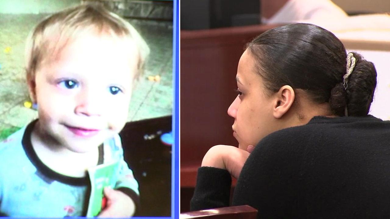 Rosie Wilson, 23, is shown in court alongside a photo of her son Anthony Wilson.