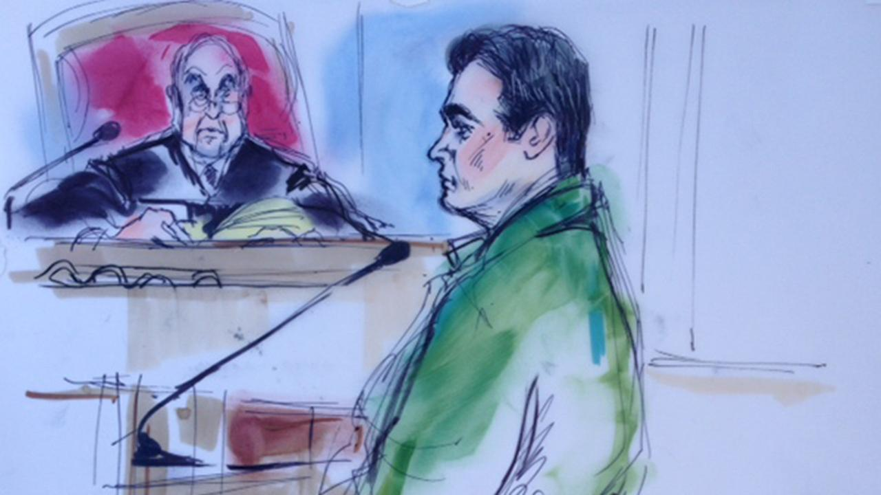 A courtroom sketch shows Reyes Ray Vega during his sentencing hearing on Monday, July 21, 2014.