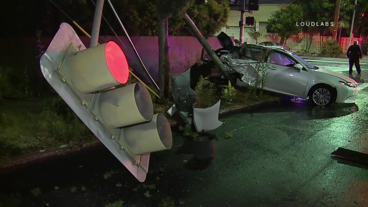 A traffic pole was toppled in a violent multi-vehicle crash in Westlake on Thursday, June 1, 2017.