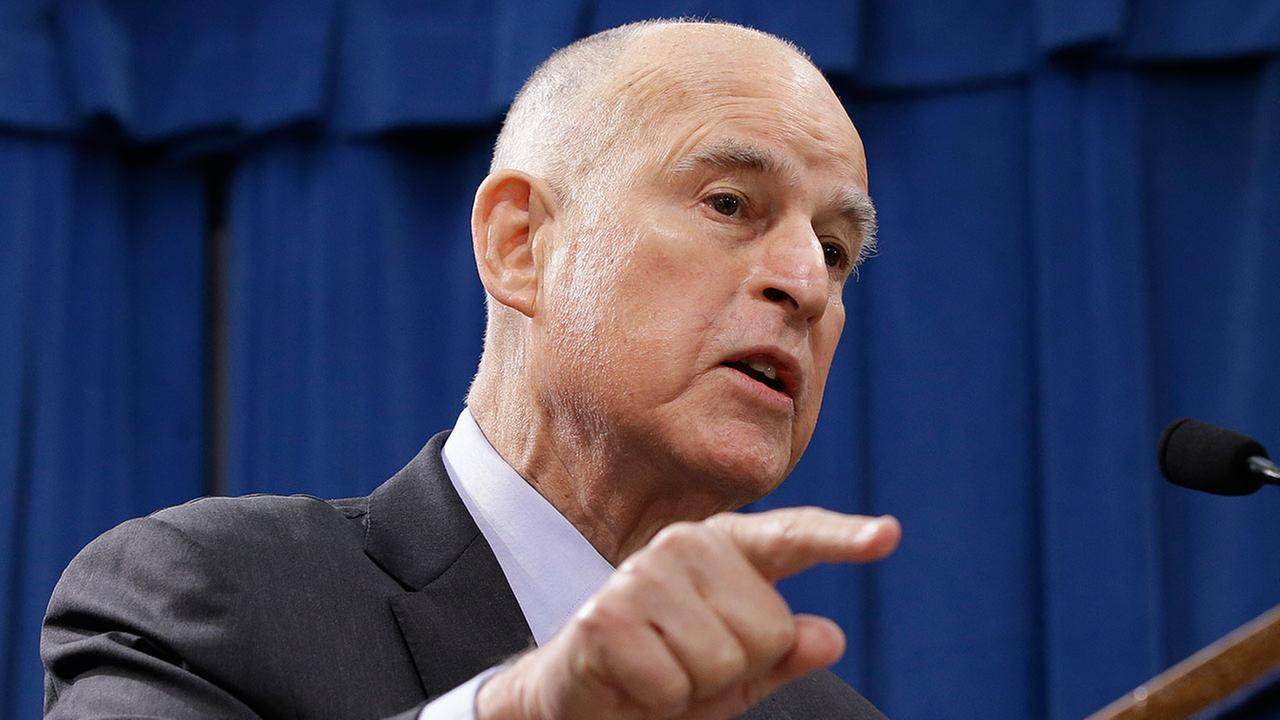 California Gov. Jerry Brown responds to question in Sacramento, Calif.