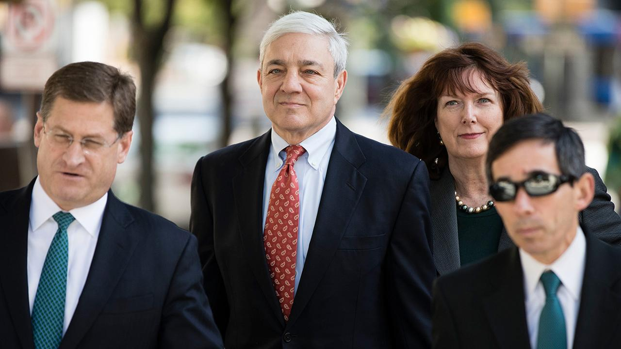 Former Penn State President Graham Spanier arrives for his sentencing hearing at the Dauphin County Courthouse in Harrisburg, Pa., Friday, June 2, 2017.
