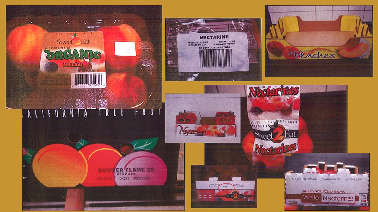 Packaging containing fruit recalled by California-based Wawona Packing Company over Listeria concerns.