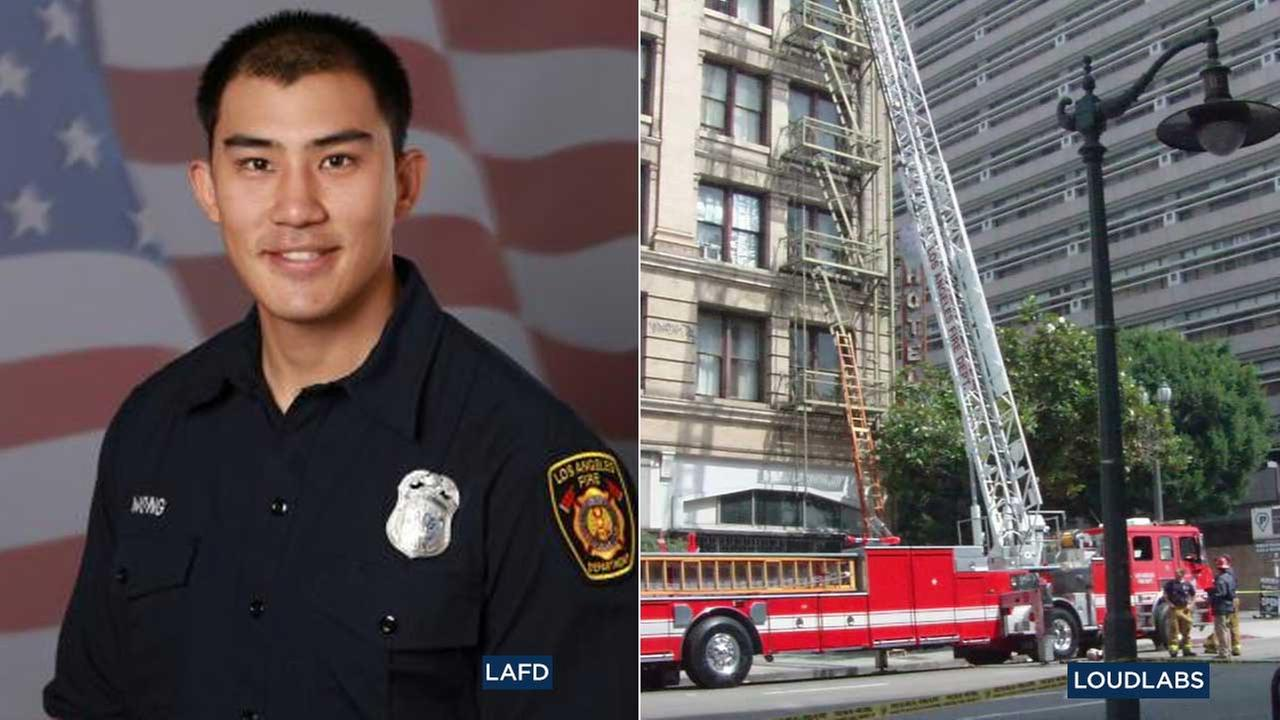Los Angeles Fire Department Firefighter Kelly Wong, left, died from injuries he suffered from falling during a training exercise in downtown L.A.