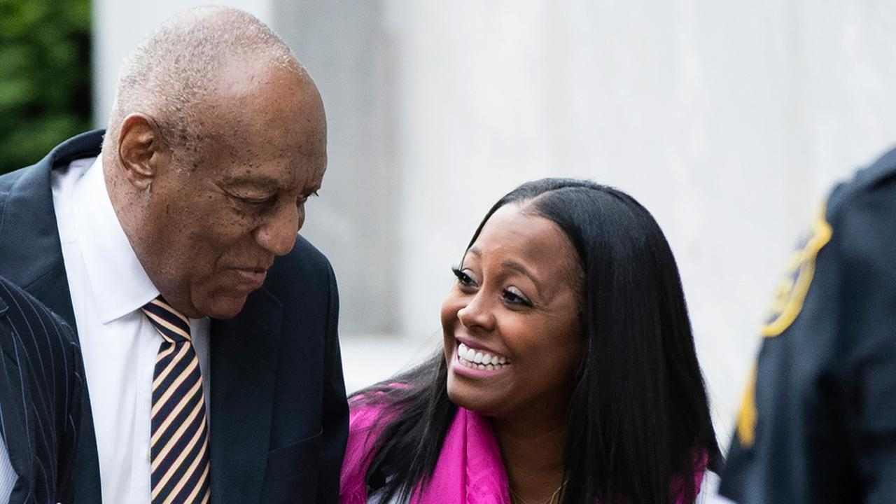 Bill Cosby arrives for his sexual assault trial with actress Keshia Knight Pulliam, right, at the Montgomery County Courthouse in Norristown, Pa., Monday, June 5, 2017.
