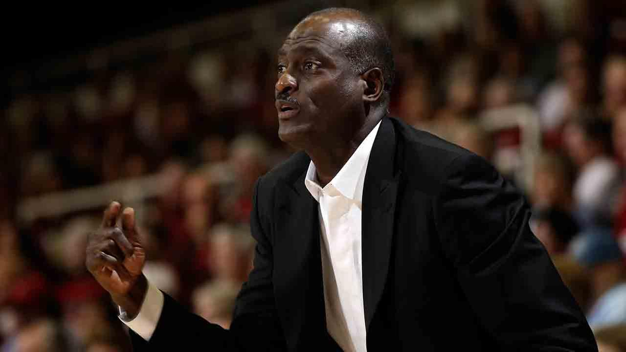 Southern California head coach Michael Cooper instructs his team against during the first half of an NCAA college basketball game in Stanford, Calif., Saturday, Jan. 22, 2011.