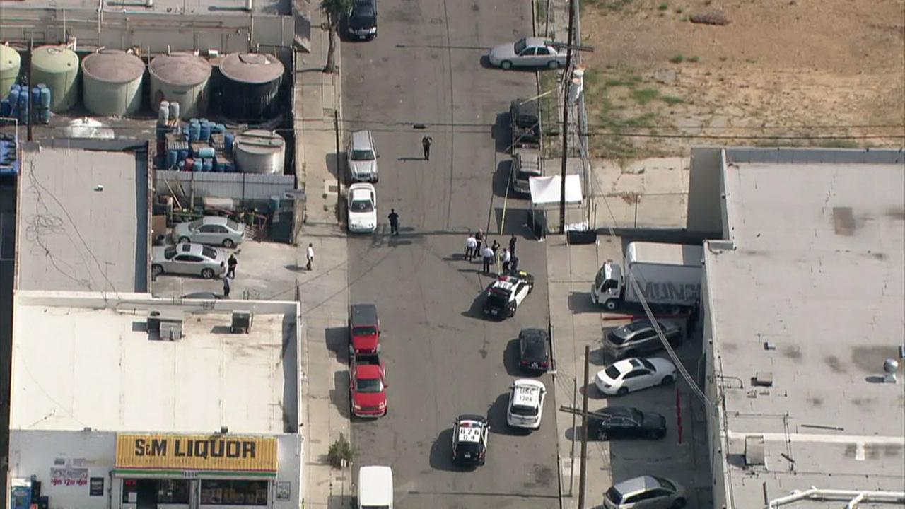 Authorities blocked off a street in Lincoln Heights after a man was fatally shot on Tuesday, June 6, 2017.