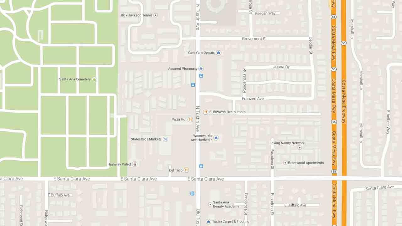 A Google Map indicates the area near the 2400 block of North Tustin Avenue in Santa Ana.