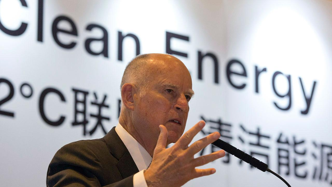 California Gov. Jerry Brown speaks at an event during an international clean energy conference in Beijing Wednesday, June 7, 2017.