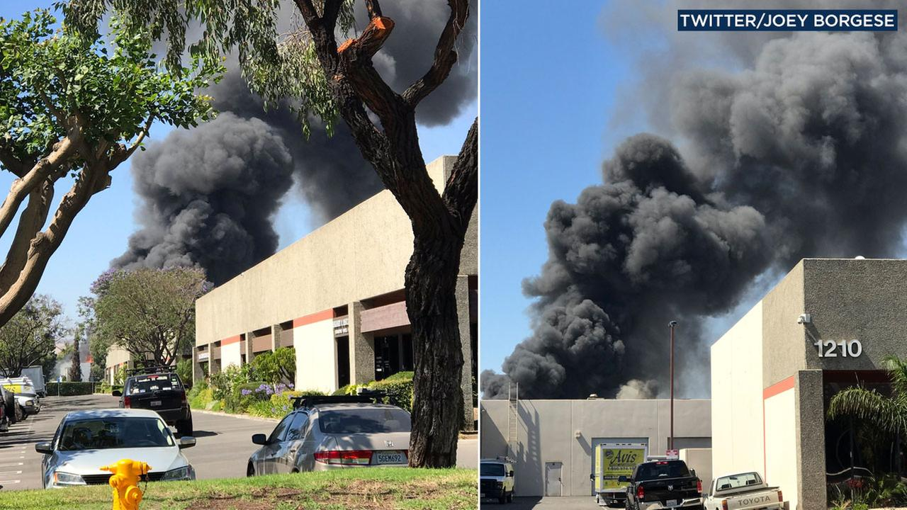 A chemical fire rips through a business in Anaheim on Friday, June 9, 2017.