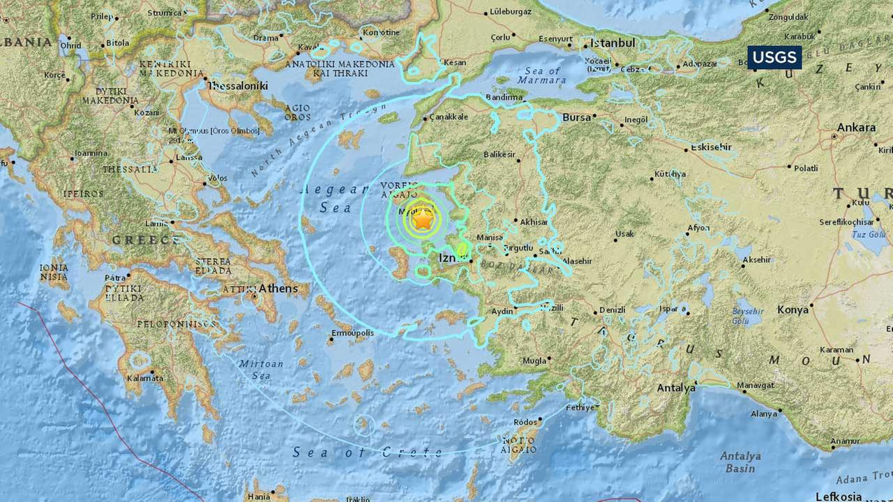 Magnitude Earthquake Shakes Greek Islands Turkey  Hurt - Us earthquake map