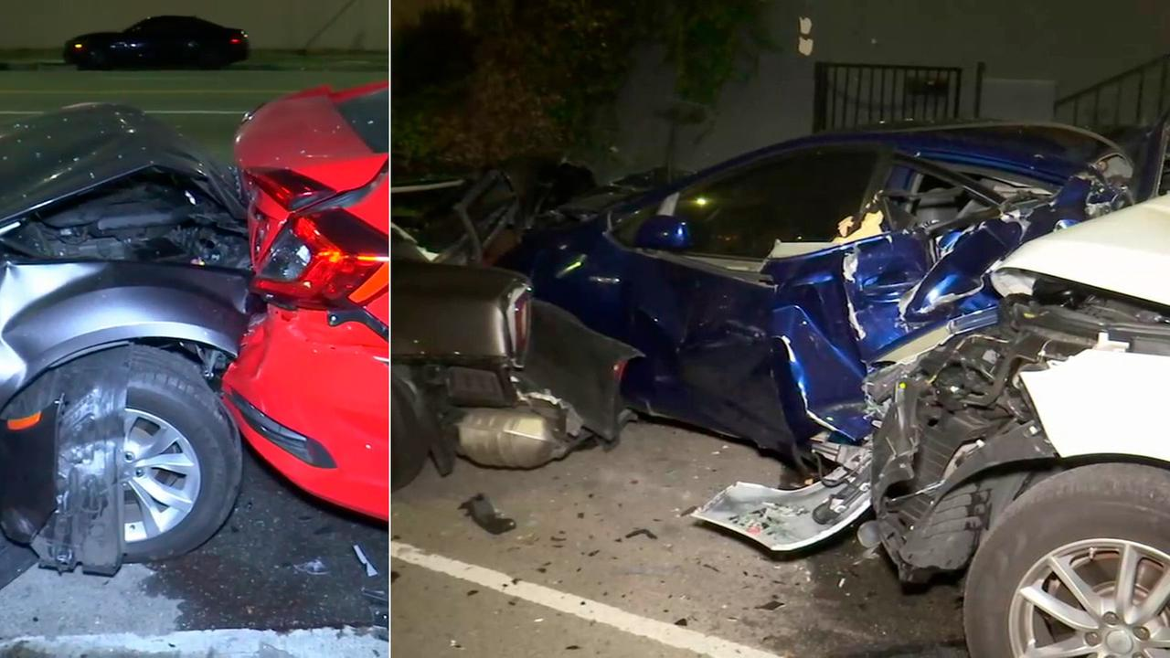 Four cars were damaged in a hit-and-run crash in Hollywood on Tuesday, June 13, 2017.