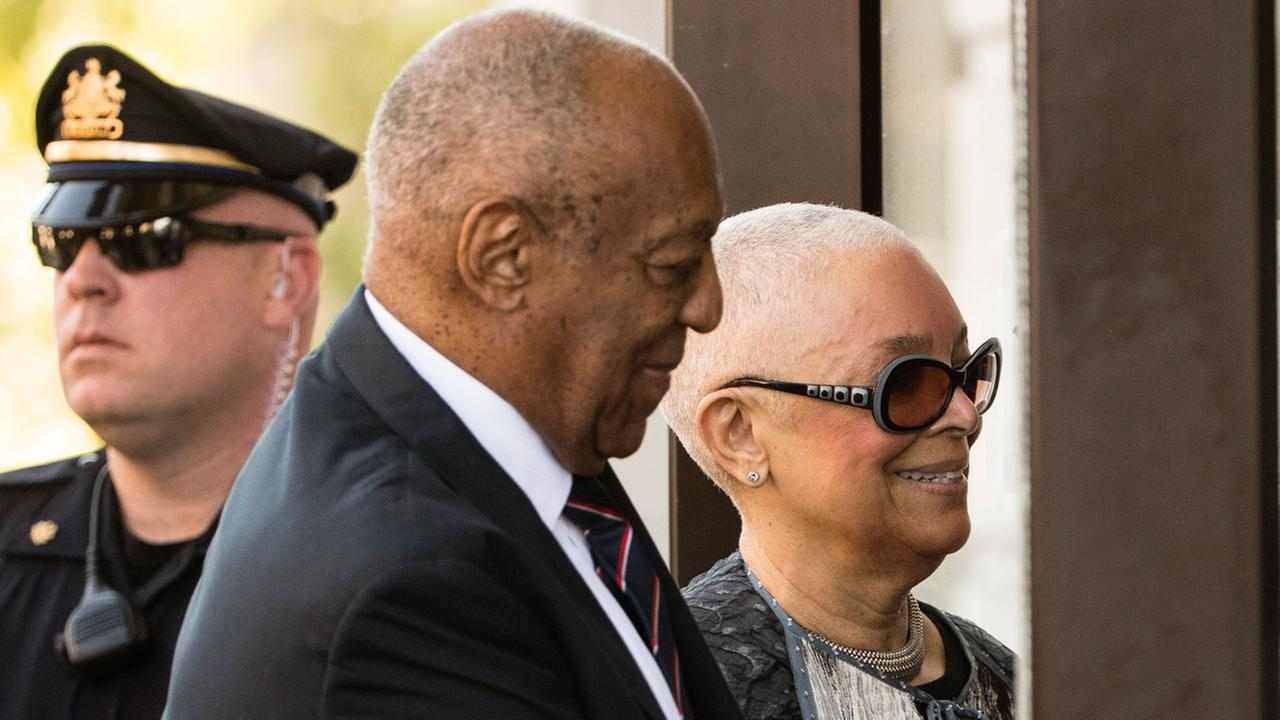 Bill Cosby arrives for his sexual assault trial with his wife Camille Cosby at the Montgomery County Courthouse in Norristown Pa. Monday