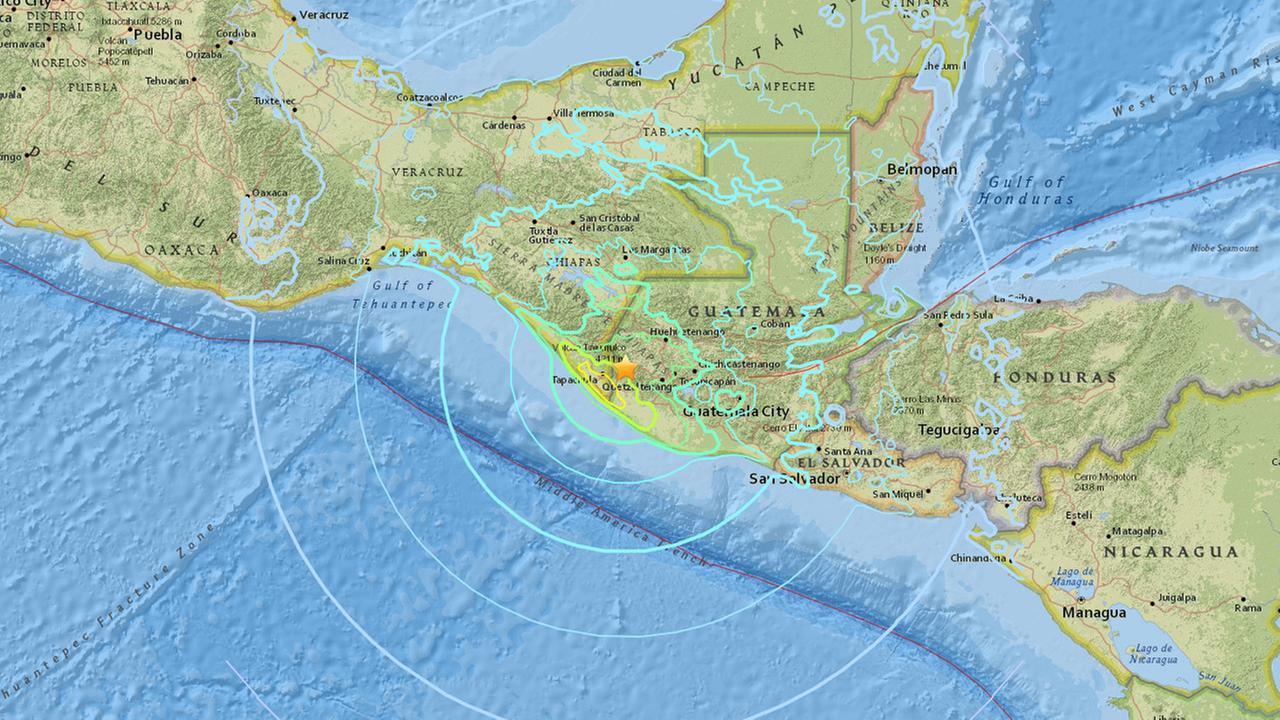 A map shows the location of a magnitude 6.9 earthquake that struck Guatemala on Wednesday, June 14, 2017.