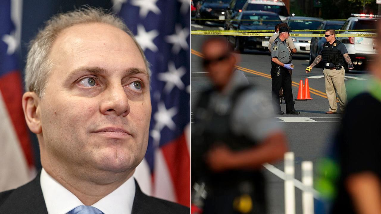Rep. Steve Scalise of Virginia, left, and others were shot at a park in Alexandria, Virginia, on Wednesday, June 14, 2017.