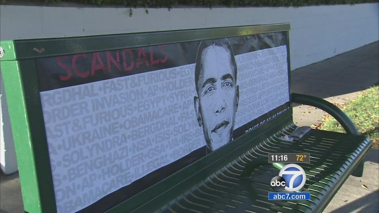 Scandalous posters are popping up all over Hancock Park on the eve of President Barack Obamas visit.