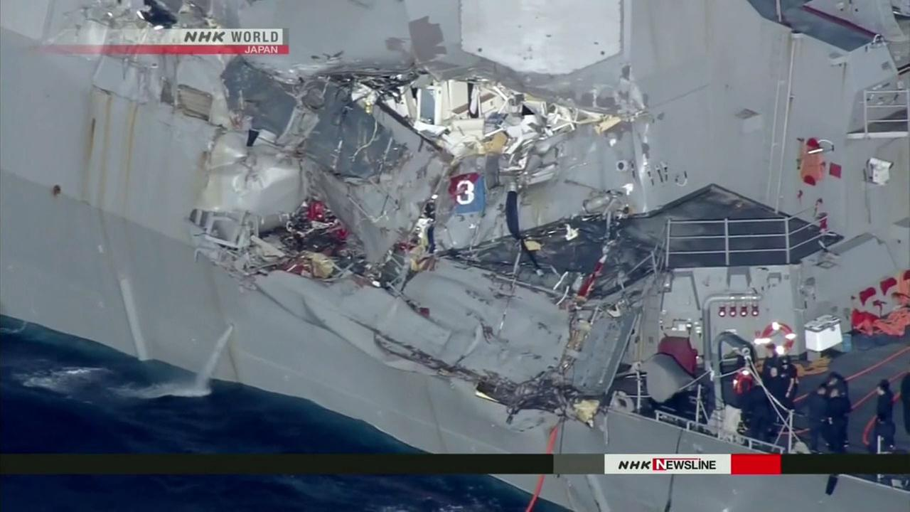 Aerial images show heavy damage to the starboard side of the USS Fitzgerald, after the Navy destroyer collided with a merchant ship off the coast of Japan.