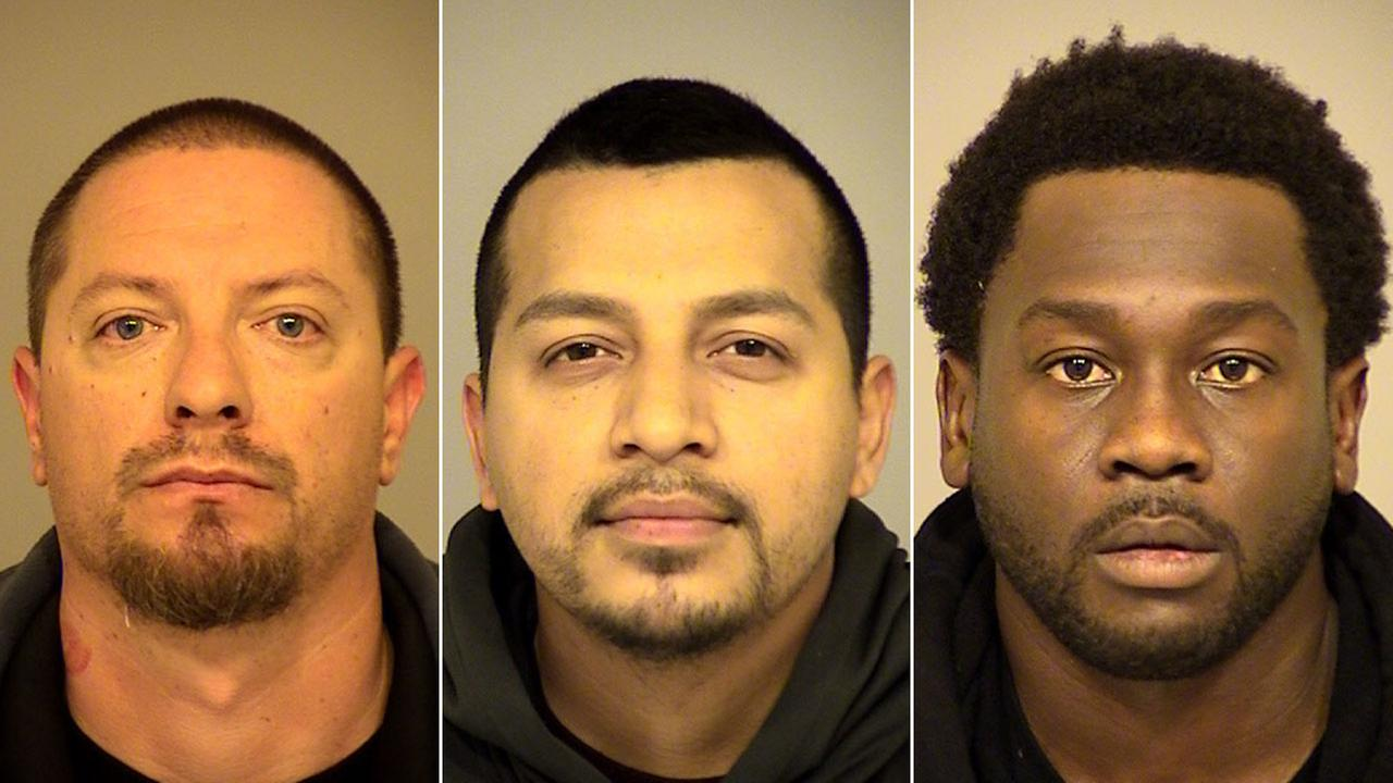 Joseph Valenzuela, 38, Carlos Chavez, 28, and Rahim Leblanc, 30, are shown in mugshots.