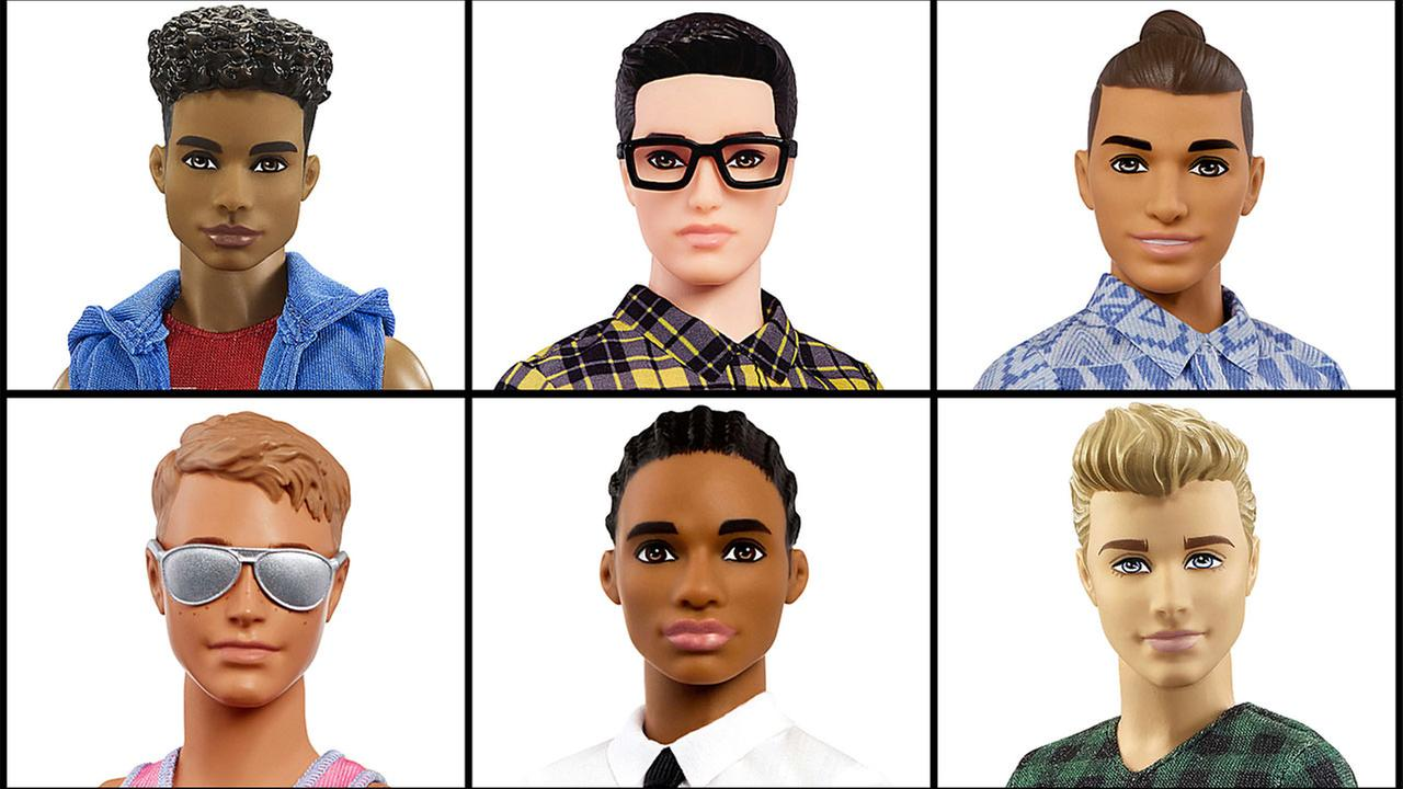 This photo combo of images provided by Mattel shows a variety of Ken dolls now available from Mattel.
