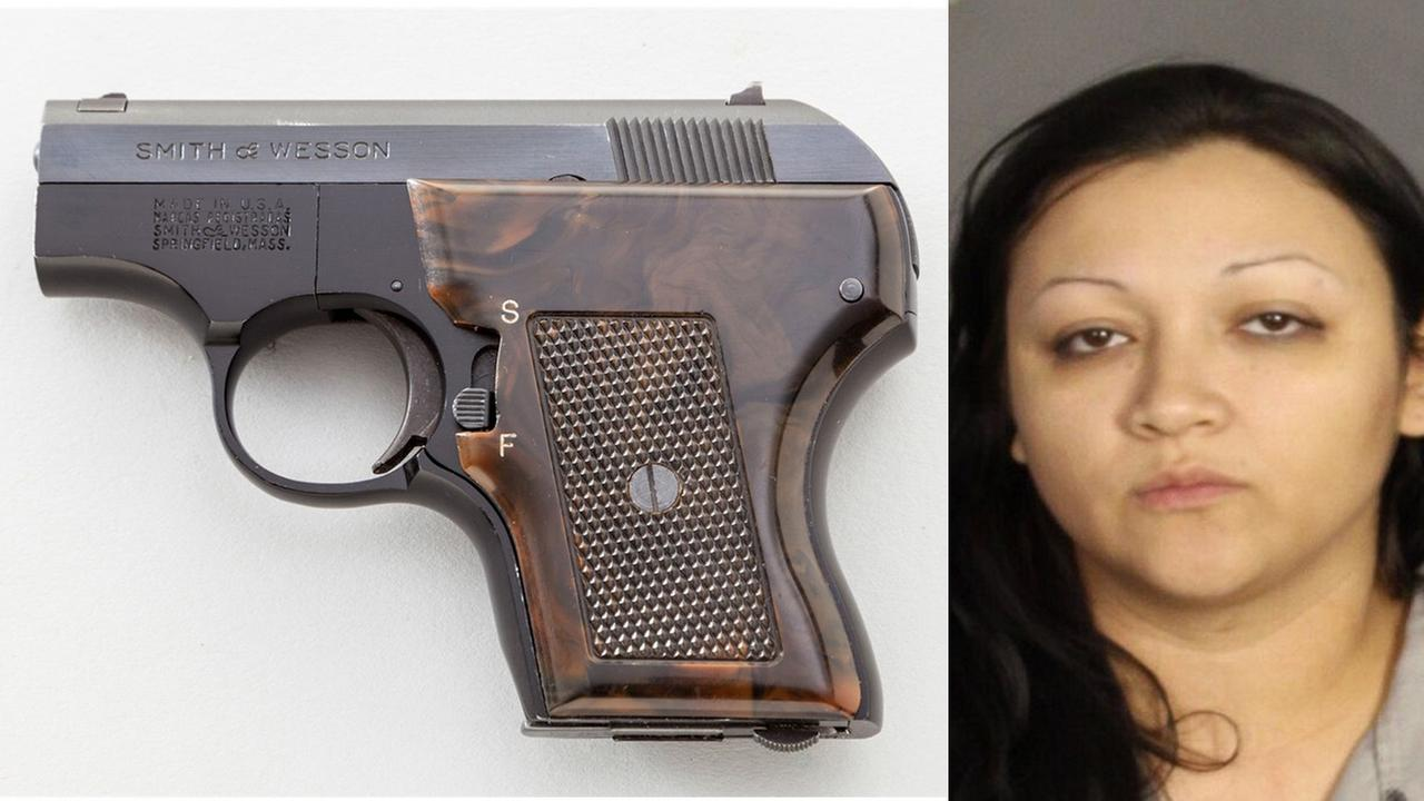 Ashley Cecilia Castaneda is seen in a booking photo. A loaded gun was found during a cavity search after Castaneda was arrested, police said.