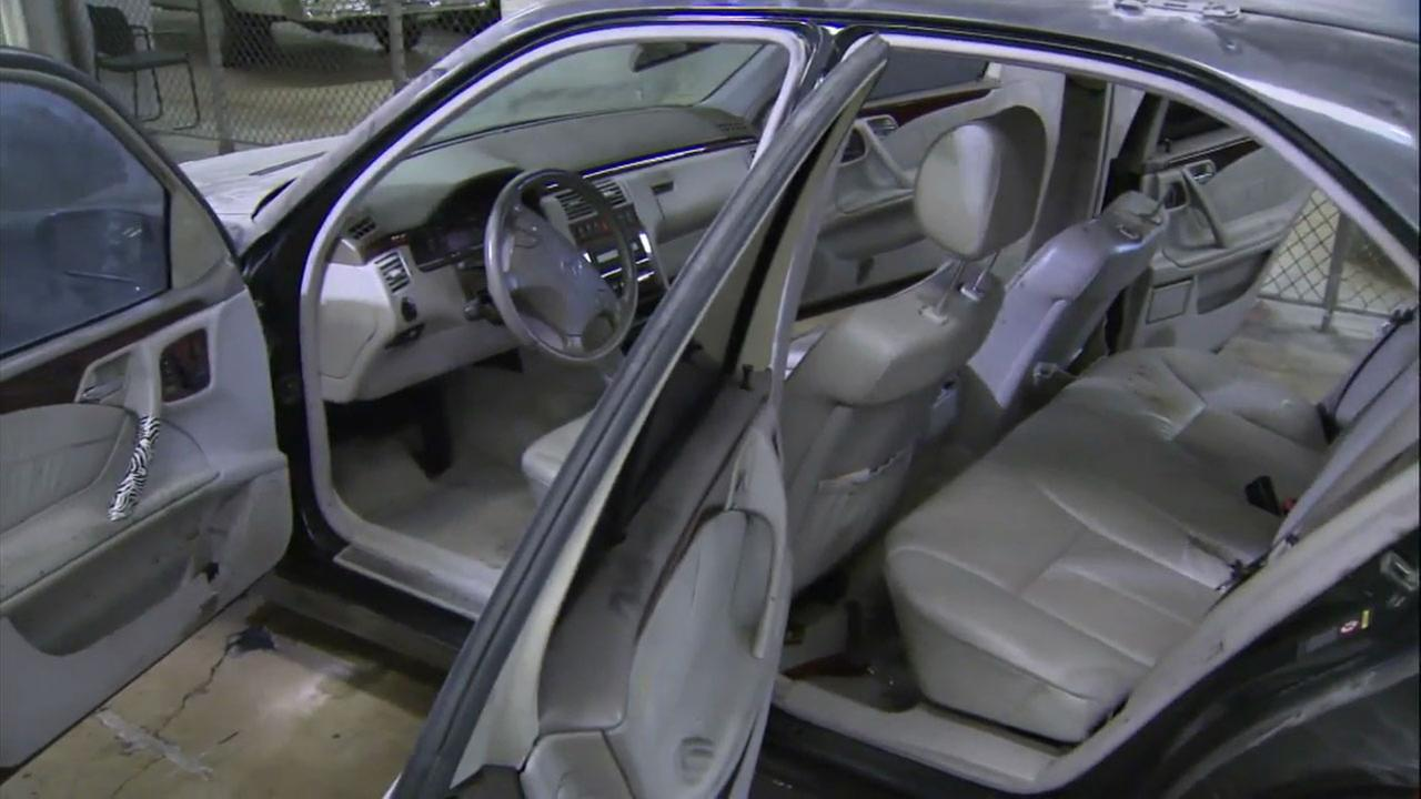 The inside of a Merdeces-Benz where Gavin Smith was said to have been killed is shown.