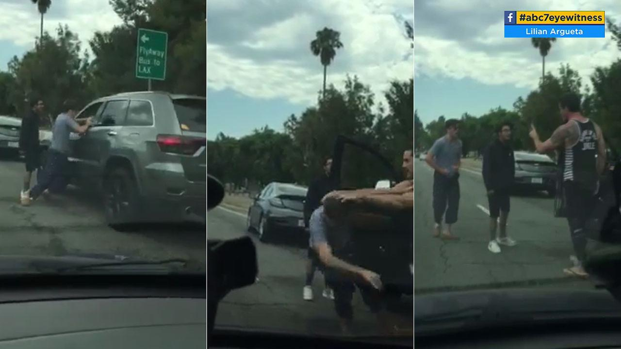 Cellphone video shows an apparent road rage incident between two drivers in Reseda on Saturday, June 24, 2017.