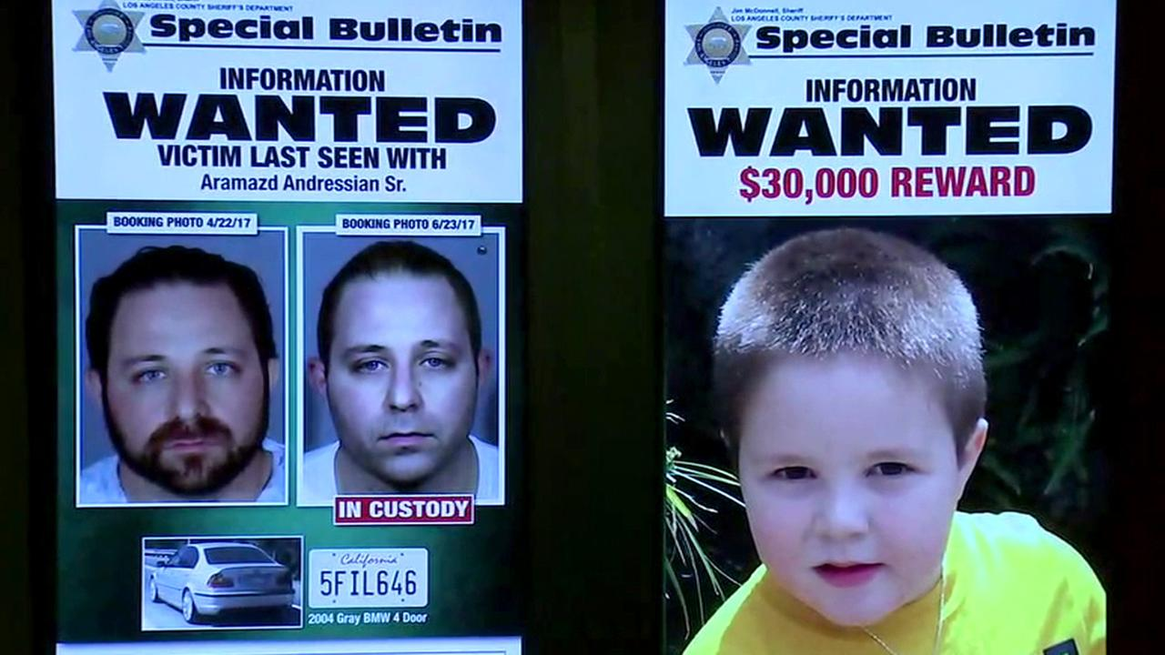 Aramazd Andressian Sr. and his 5-year-old son, Aramazd Andressian Jr., are seen on posters at a sheriffs press conference in Los Angeles on Monday, June 26, 2017.