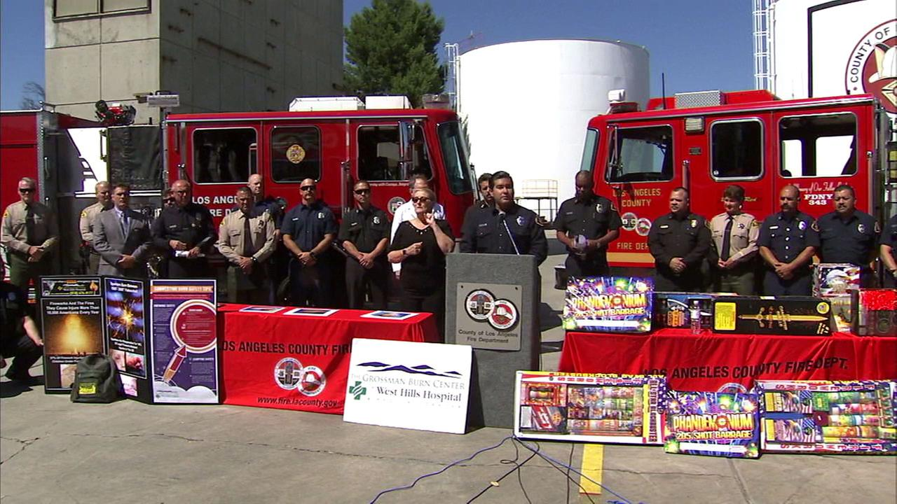 Los Angeles County Fire Department officials and other law enforcement discuss the dangers of fireworks on Monday, June 26, 2017, days before the Fourth of July.
