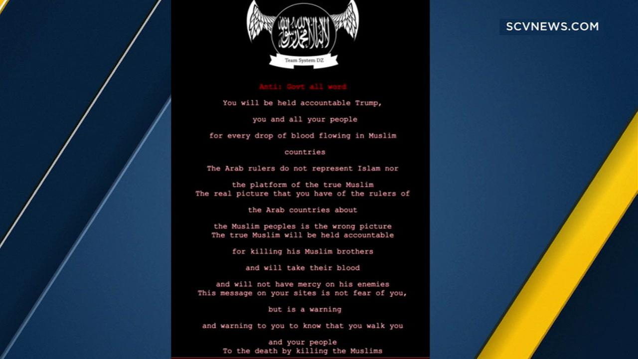 A message with pro-ISIS propaganda was planted by hackers on the Los Angeles County Board of Supervisors website.