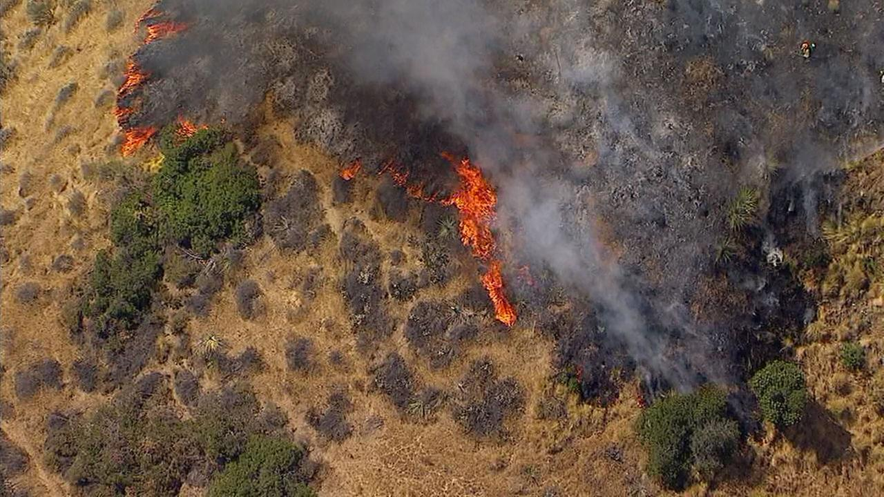 A fire burns through dry brush on a hillside in Burbank on Wednesday, June 28, 2017.KABC