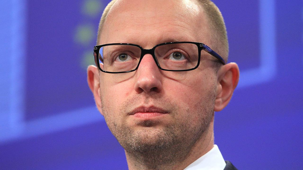 Ukrainian Prime Minister Arseniy Yatsenyuk addresses the media at the European Commission headquarters in Brussels, Tuesday, May 13, 2014.