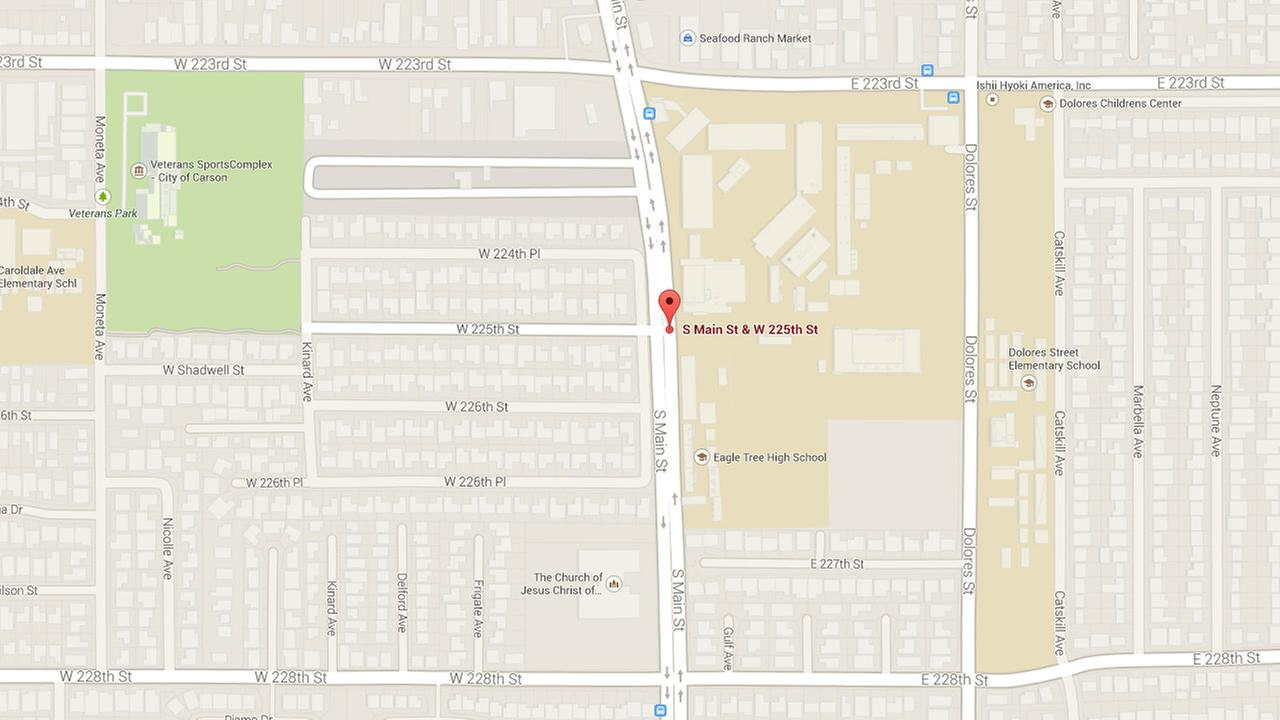 This Google Maps image shows the approximate location where three people were stabbed in Carson on Wednesday, July 24, 2014.