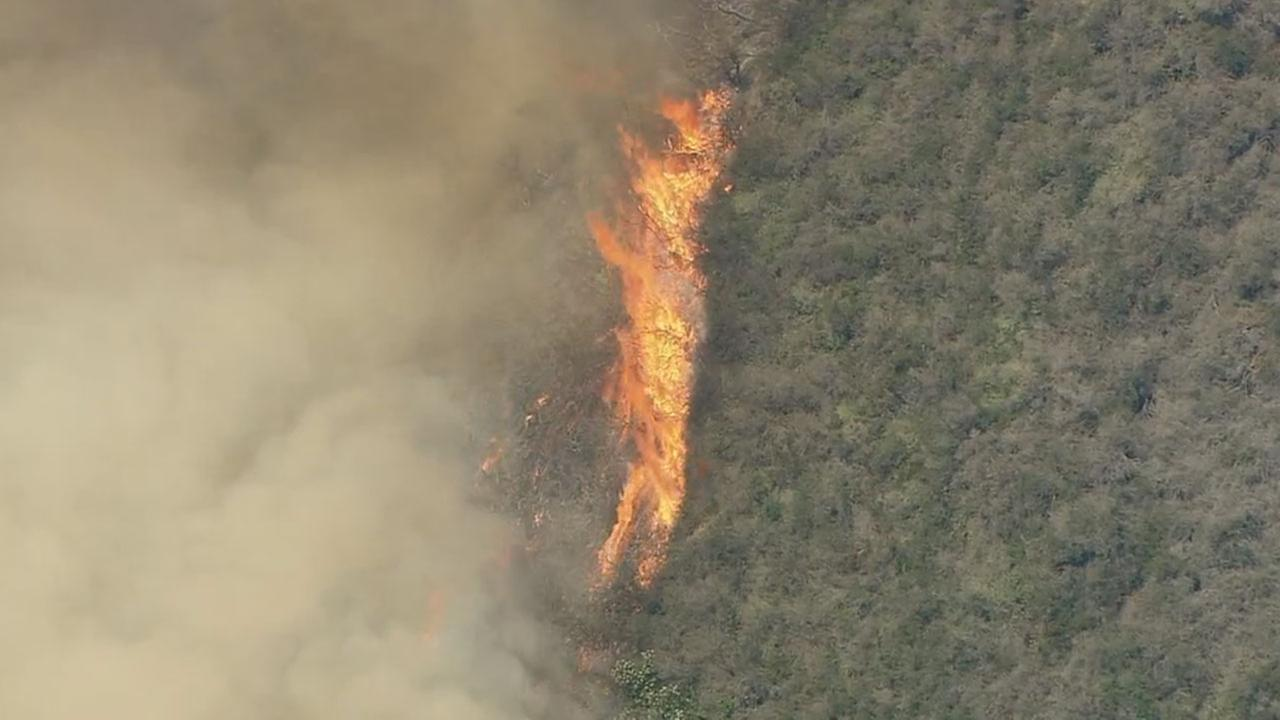 Brush Fire Threatens Structures in Topanga Canyon in Malibu