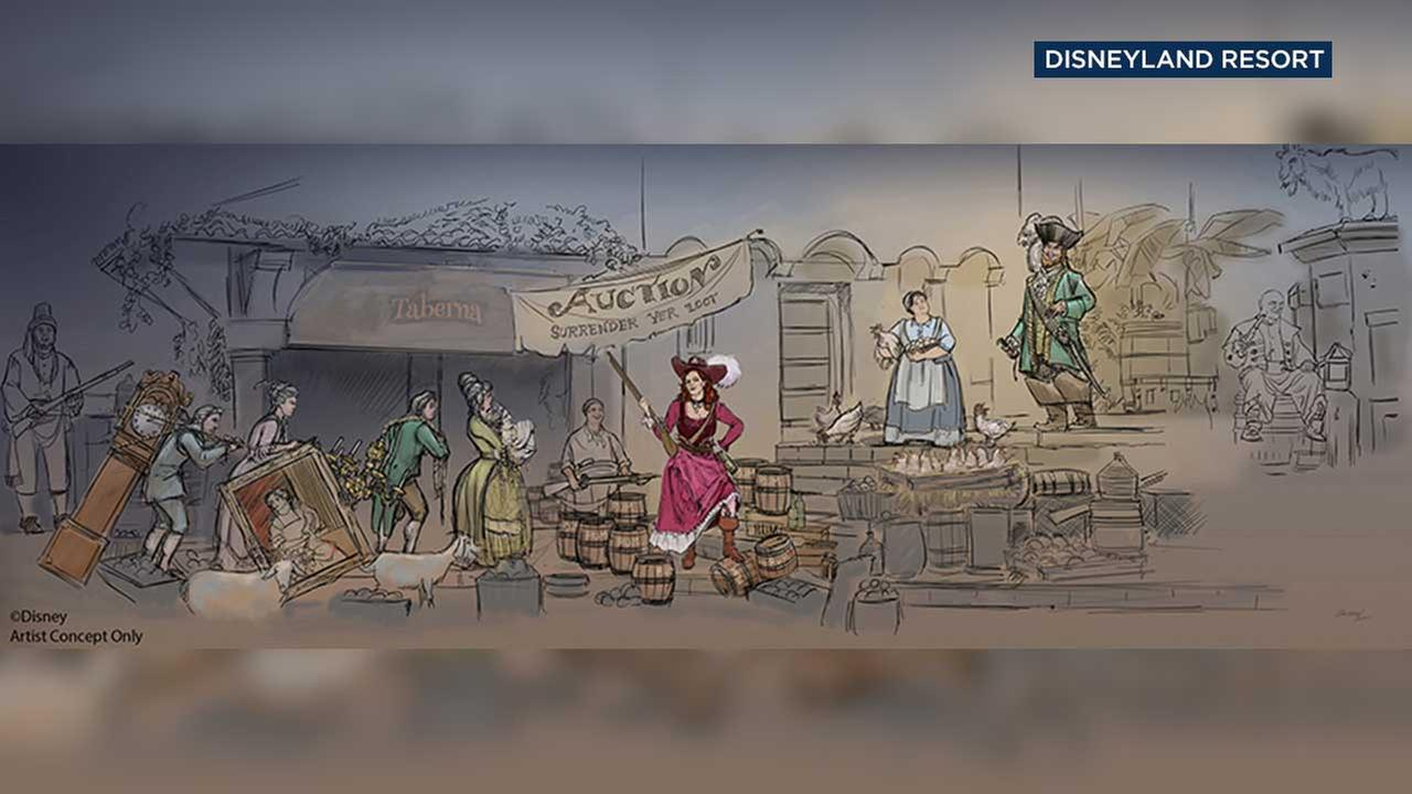 An artists rendering shows the new Walt Disney World and Disneyland Resort scenes in the Pirates of the Caribbean ride.