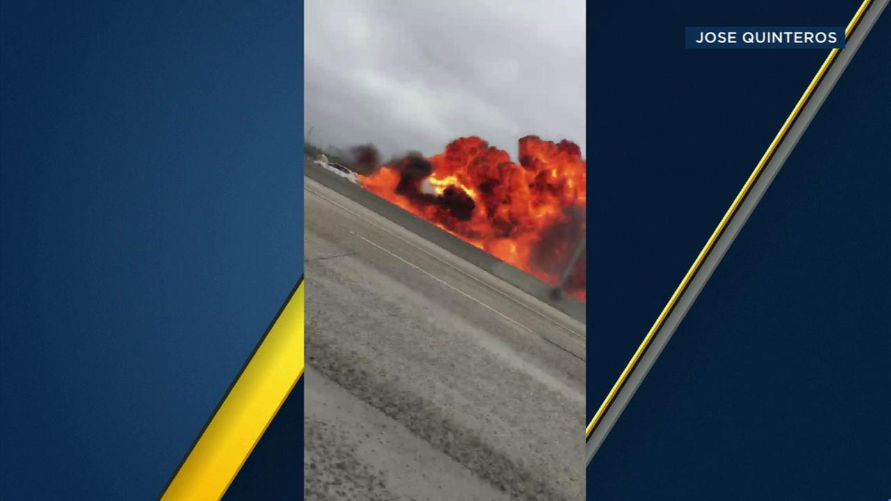 An explosion caught on camera after a twin-engine Cessna 310 crashes on the 405 Freeway in Orange County on Friday, June 30, 2017.