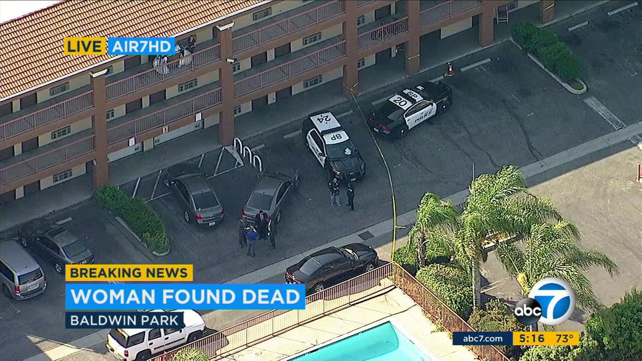Sheriffs deputies are investigating the death of a woman found at a Baldwin Park motel as a possible homicide, officials said.