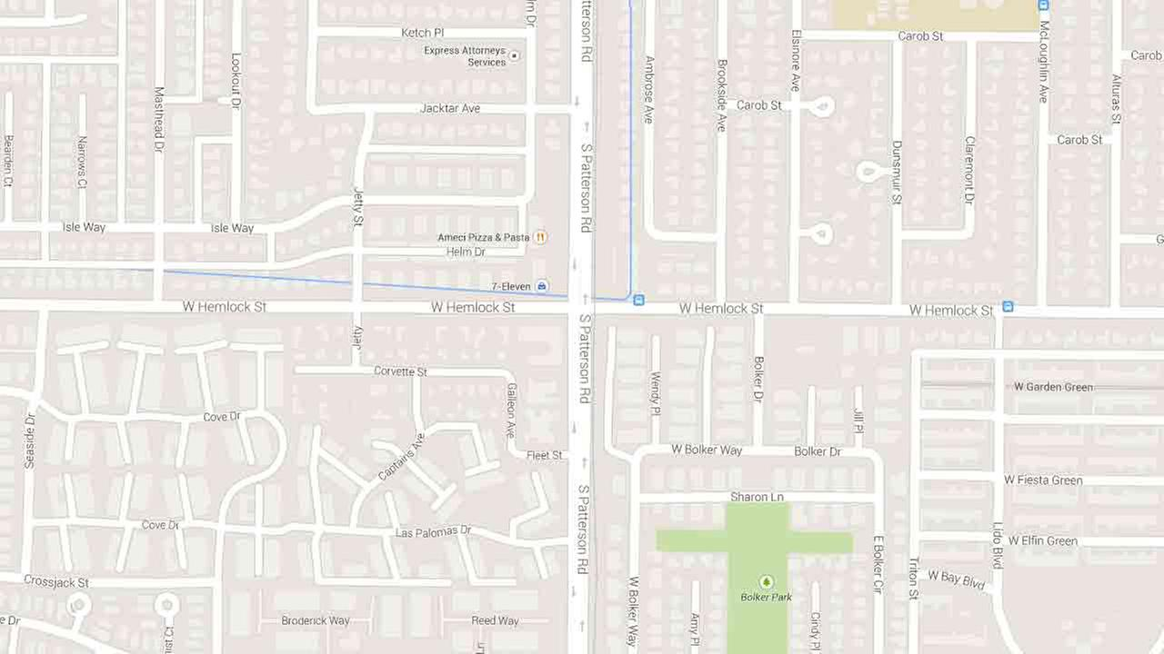A map indicates the area near the 1900 block of South Patterson Road in Oxnard where a suspect robbed a 7-Eleven at gunpoint Wednesday, July 23, 2014.