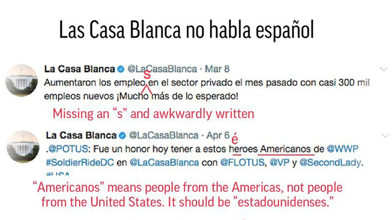 A graphic examines the grammatical errors of the White House Spanish Twitter account.