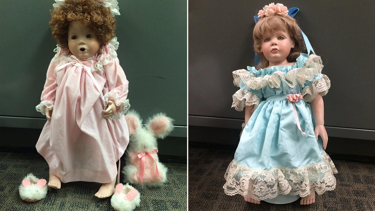Two dolls anonymously left at homes in San Clemente are shown in this undated file