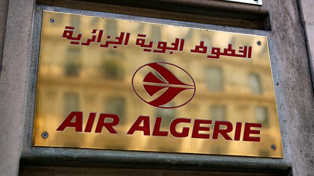 The logo of the Air Algerie company office, at the Opera avenue in Paris Thursday July 24, 2014.