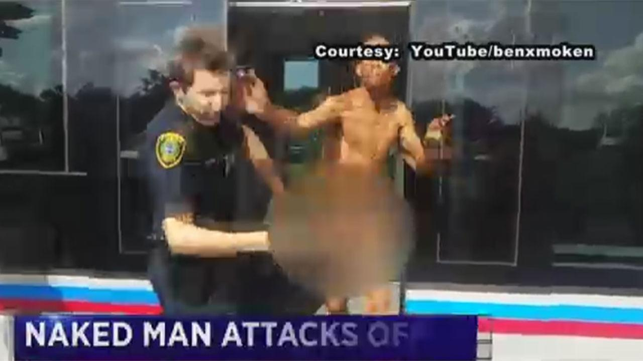 A naked man sprayed a Houston police officer with pesticide and slapped him before getting tased.